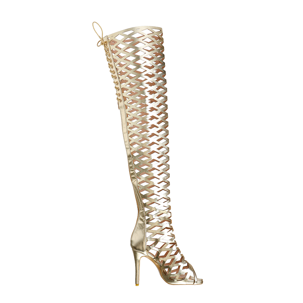 Gold Cut Outs Taille Sexy Plus 15 Initiale Femme Femmes Ouvert Or Ef1457 Chaussures Talons L'intention 4 Minces Super Sandales Nous Cuissardes Orteil ymPvN8wnO0