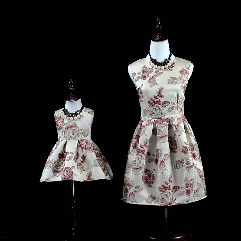 New Family Matching Dress Rose Embroidery Dress For Mum and Daughter Girls Princess Ball Gown For