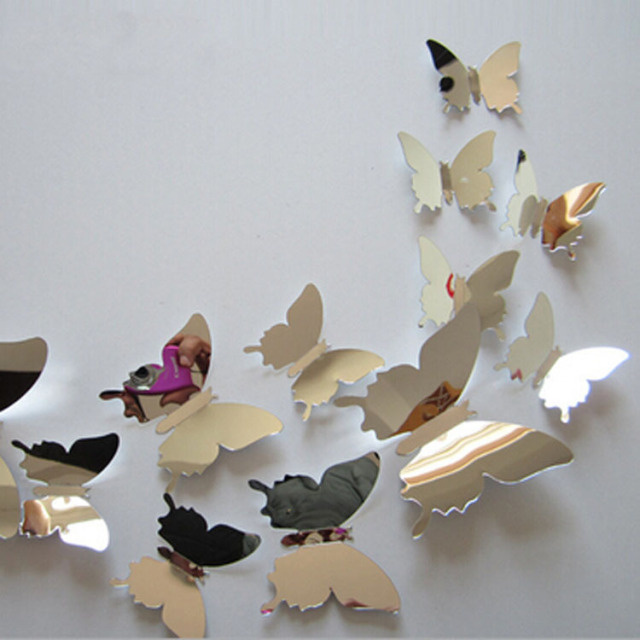 12pcs/set New Arrive Mirror Silver 3D Butterfly Wall Stickers Party Wedding Decor DIY Home Decorations