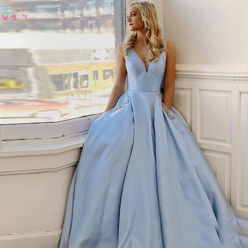 Sky Blue Satin Prom Dresses 2020 Simple Women V Neck Pockets Beaded Pearl A Line Evening Formal Gowns Pleats WALK BESIDE YOU