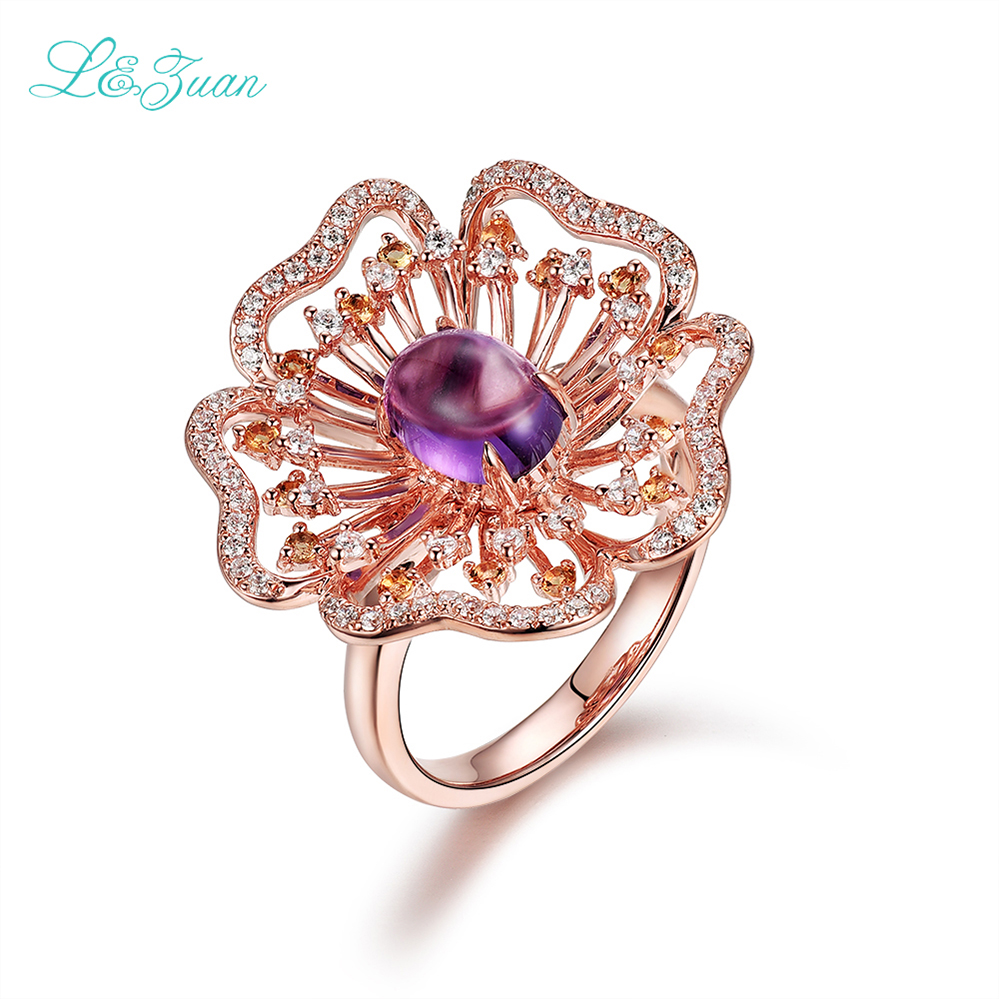 I&Zuan S925 Sterling Silver Natural Purple Amethyst Rings For Women Romantic Beautiful Flower Rings Fine Jewelry Party Ring 5413