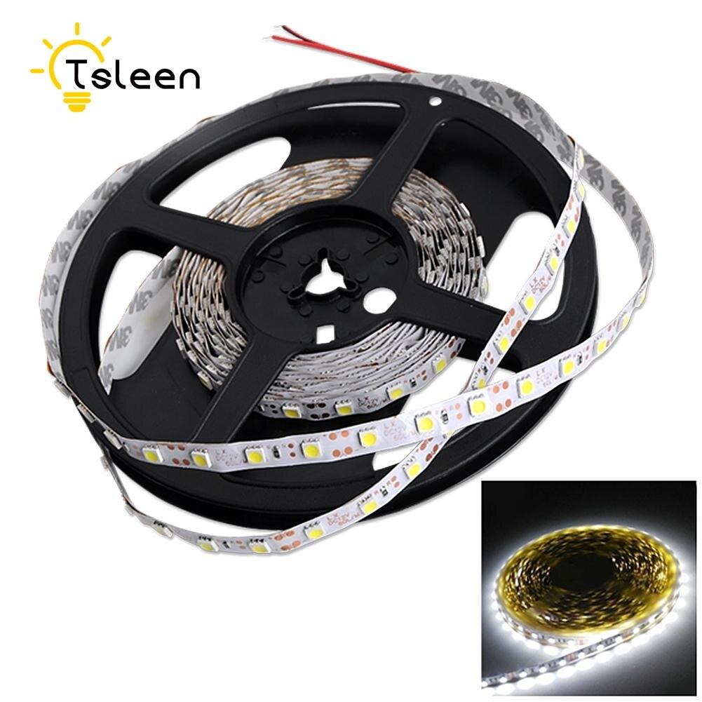 TSLEEN 1PC 1M 60Leds RGB Led Strip Light Waterproof 3528 DC12V Flexible Lighting String Ribbon Tape Lamp Home Decoration Lamp
