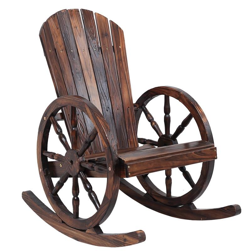 Wagon Wheel Wood Adirondack Style Garden Chair