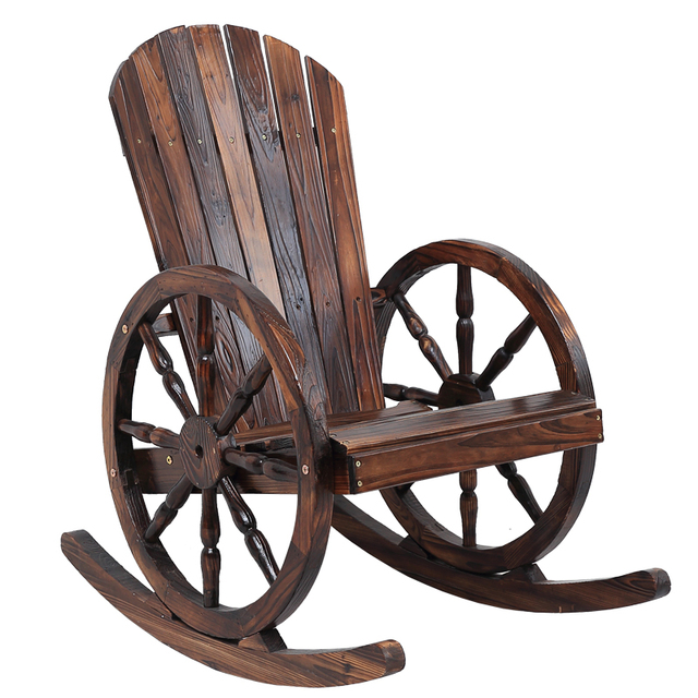Beau Wagon Wheel Wood Adirondack Style Garden Chair Garden Furniture Rocking  Chair Rocker Patio Garden Wooden