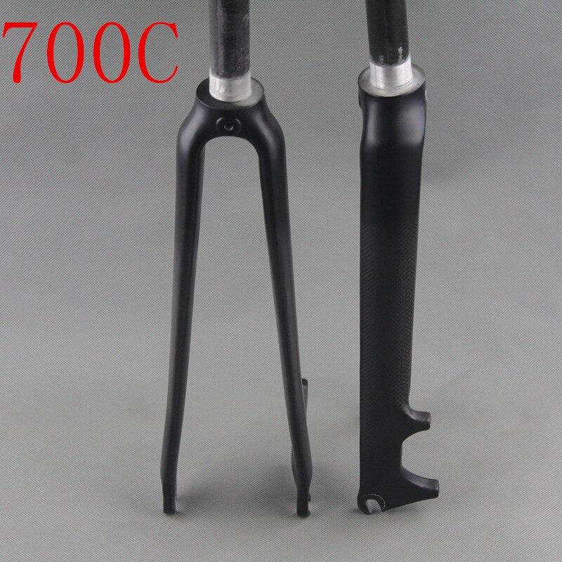 Nouveau style fourche de vélo de route en fiber de carbone ajustement V frein à disque 3k mat brillant finition fourche de vélo bicicleta garfo 28.6mm 700c