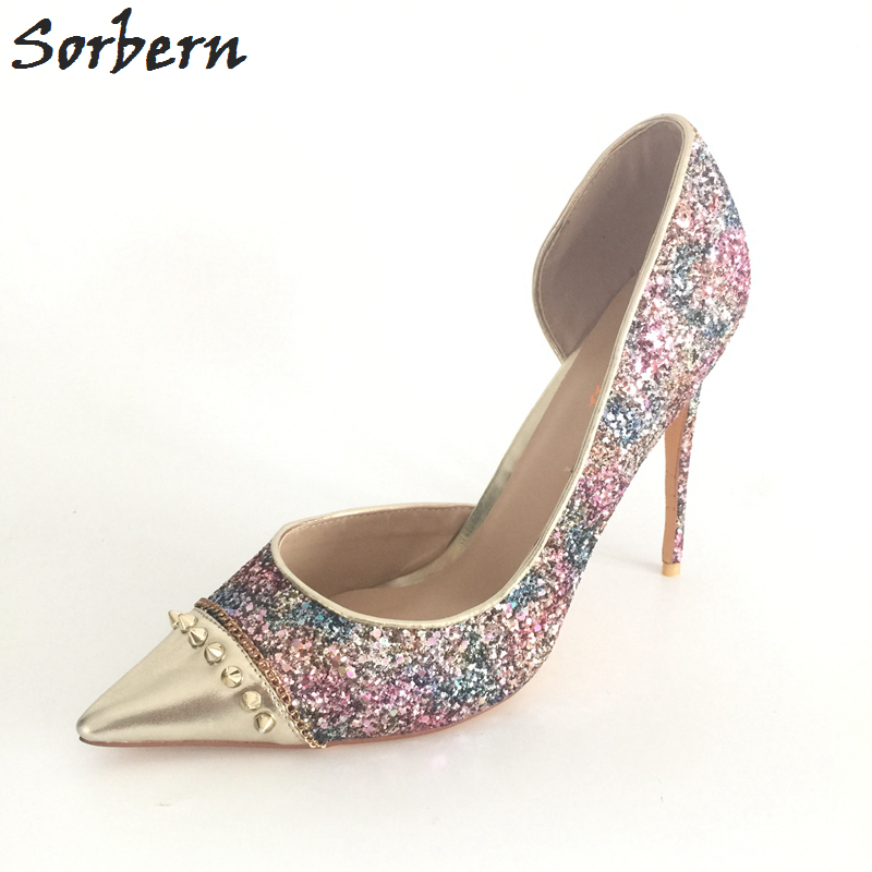 Sorbern Real Photo Colored Glitter Sequins Women Pumps Slip-on Rivets Ladies Shoes Women High Heels Stilettos Pumps EU34-46 real women pumps thin high heels ladies party shoes slip on butterfly knot cheap modest zapatos mujer sorbern wedding shoes sexy