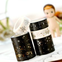 1pc Gold & Silver Foil Washi Tape Paper Sticker Creative Moon Stars Decoration Masking for Kids Diary Home Diy Scrapbooking