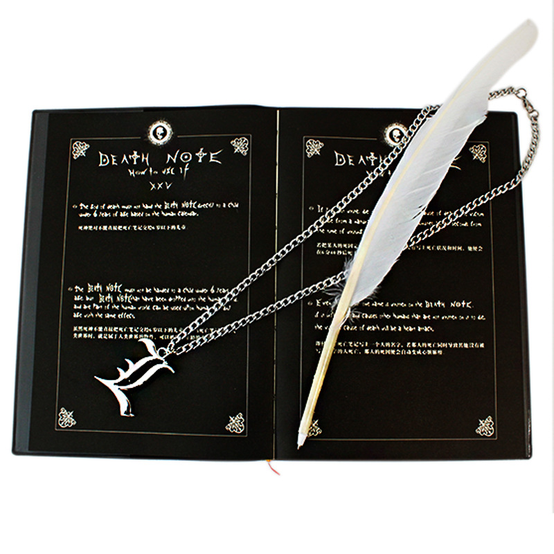3pcs/set Death Note notebook necklace feather pen set Anime Death Note cosplay toy free  ...