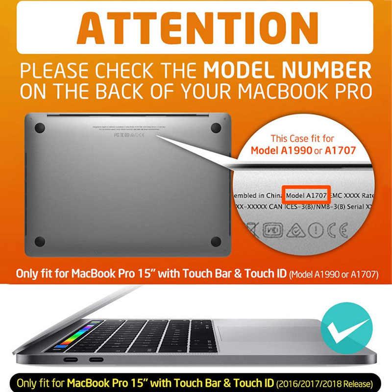 Pour MacBook Pro 15 Cas avec Touch Bar/Touch ID (2019 2018 2017 2016) A1990/A1707 i-blason Mince Gel coque rigide + pochette de protection en polyuréthane thermoplastique