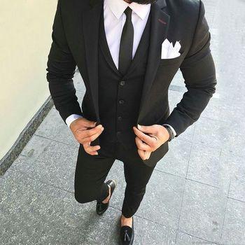 c306503e9cf Negro de corte Slim de negocios Blazer 3 piezas ropa de calle Suis Traje  Hombre diseño