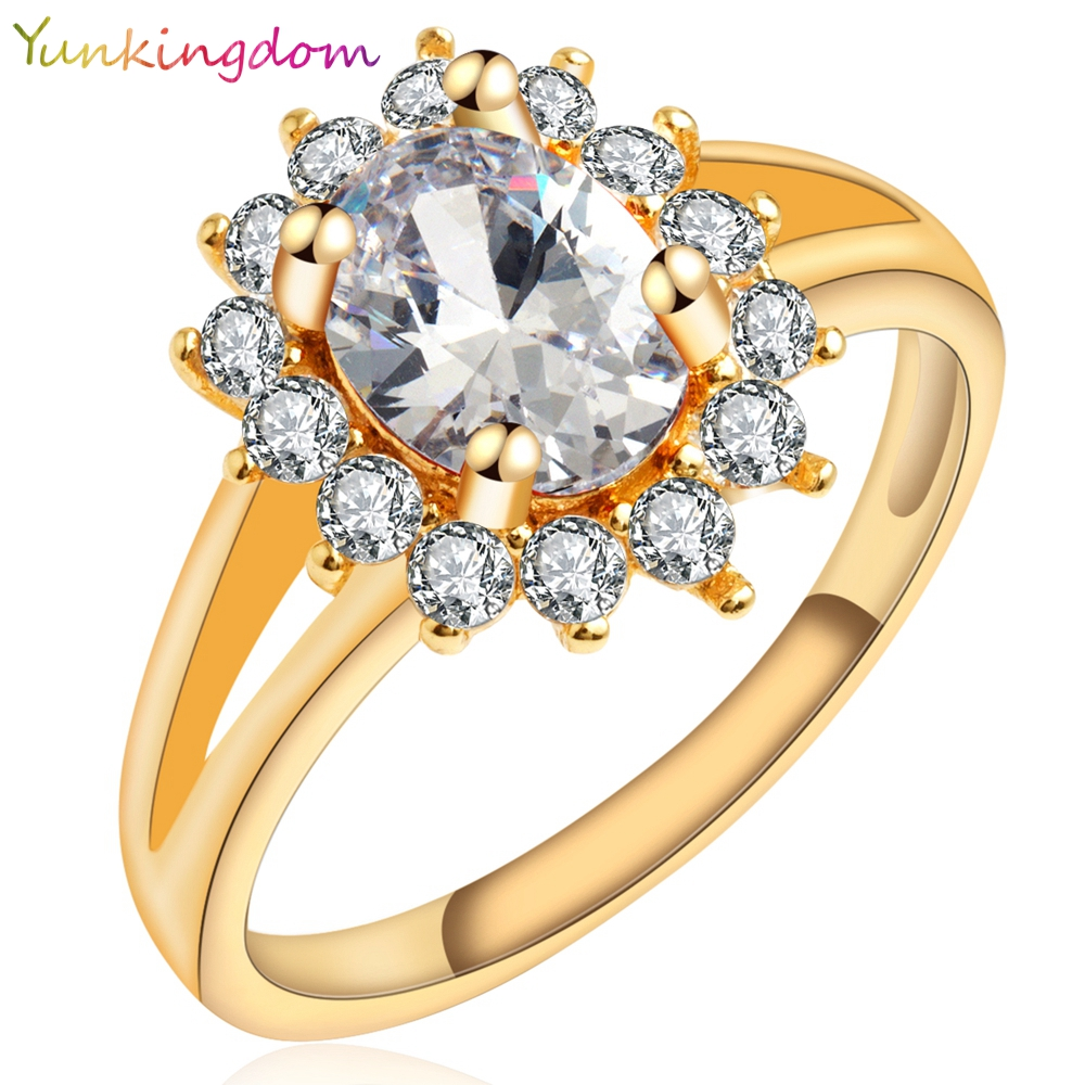 Yunkingdom Noble Princess Style Gold Plated Ring White Cubic Zirconia Wedding Rings Women zircon crystal jewelry H0525 - yunkingdom Official Store store