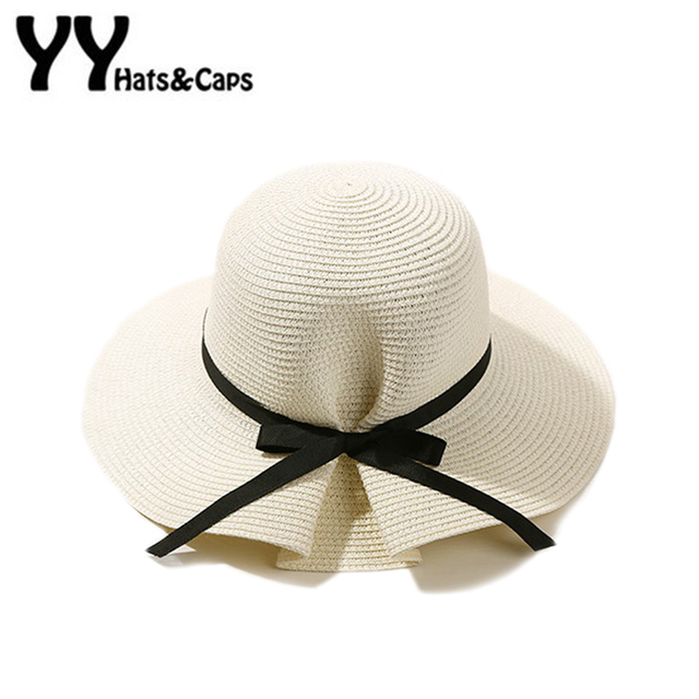 08a0e6b40 US $8.53 5% OFF|Solid Bowknot Sunhats Women Elegant Sun Hats Summer Wide  Brim Beach Straw Hat Pamelas Sombreros Paja Ladies Sunhat YY17135-in Sun  Hats ...