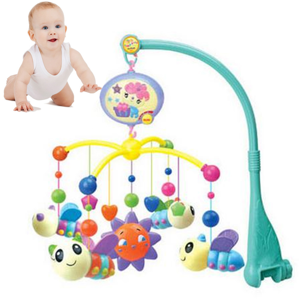 Baby Cute Cartoon 360-degree Rotatable Bees Musical Bed Crib Bell Music Box Mobile Hanging Rattle Bracket Holder Rattle Toys
