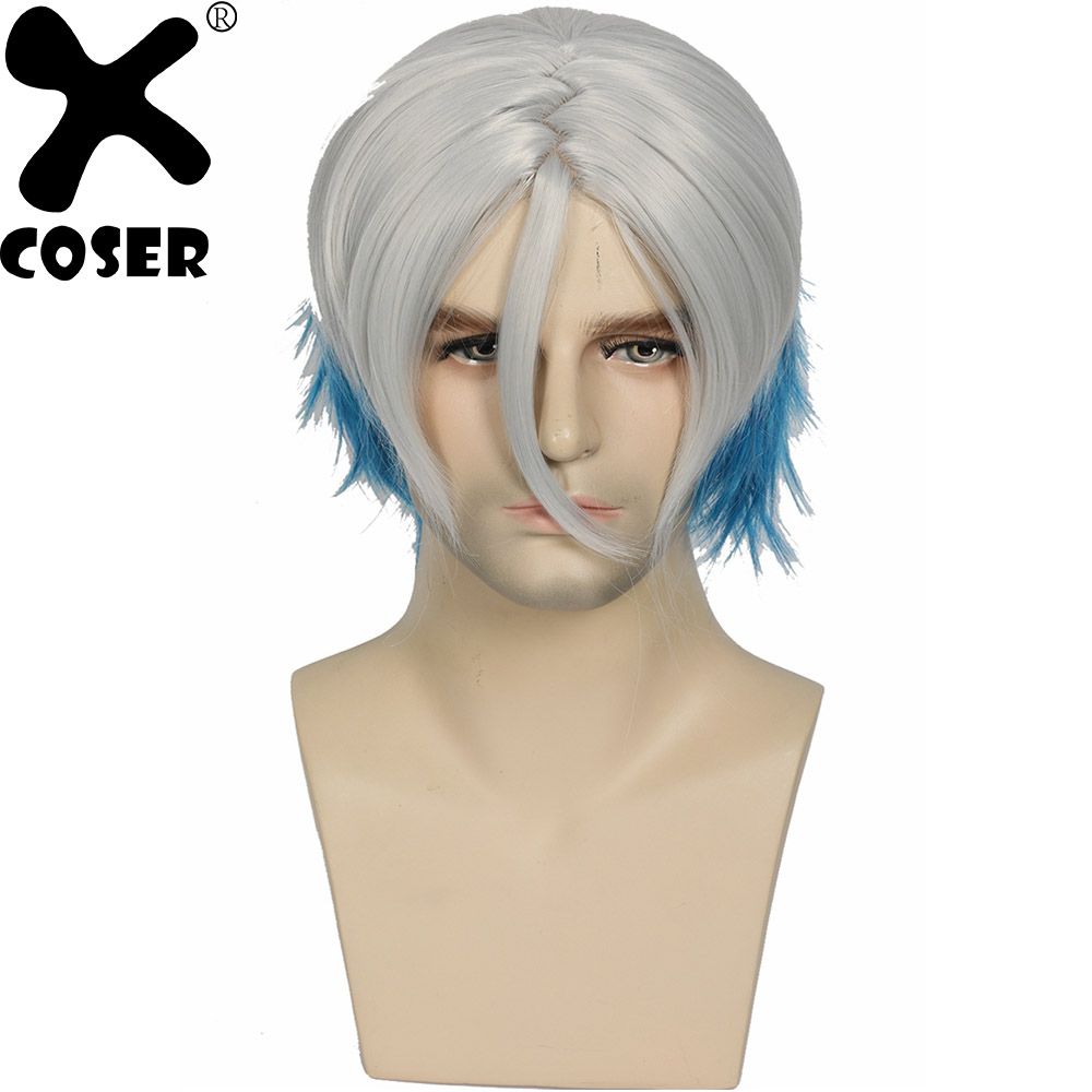 XCOSER 2018 Hot Movie Ready Player One Parzival hair Cosplay Props Stylish Blue White Stitching Synthetic Wigs Cosplay Accessory