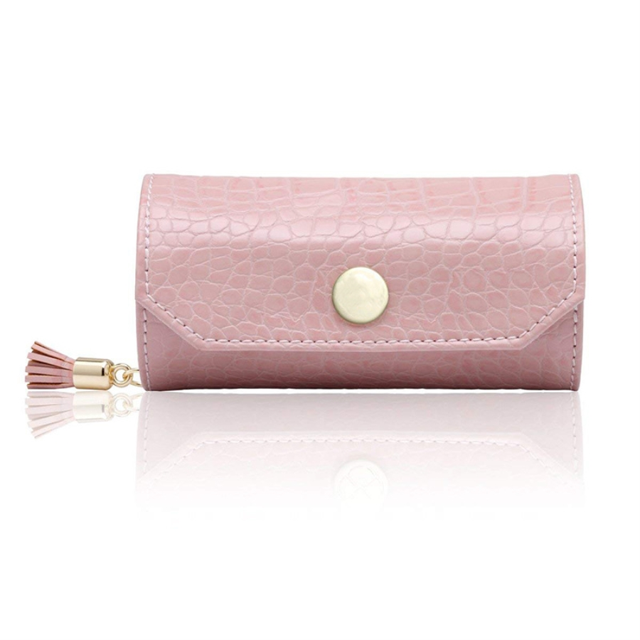 Hanging Storage Bags PU Leather Jewelry Pouch Pink Necklace Ring Display Case Portable Jewelry Organizer For Travel Boite Bijoux