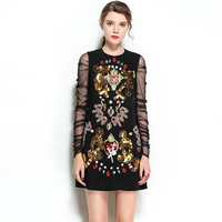 High Quality 2018 Designer Runway Dress Women S Lace Long Sleeve Luxury Embroidery Crystal Beading Sequin