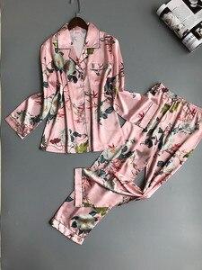 Image 5 - Lisacmvpnel Lente Afdrukken Patroon Vrouwen Pyjama Mooie Rayon Nachtkleding Lange Mouw Broek Twee Papier Pak