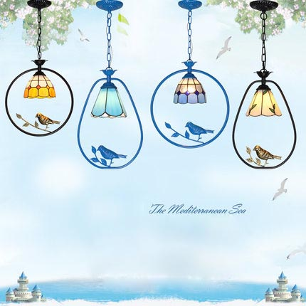 American Country Style Tiffany Creative Simple Bird LED pendant lights, Glass+metal suspension hanging lamp luminaries lampshade pastoral tiffany glass pendant lights latin american colorful tiffany lighting lamp mediterranean hanging glass lamp cover lampe