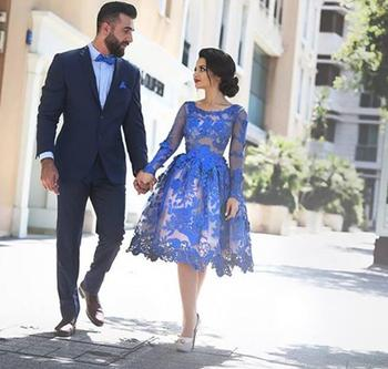 Royal Blue Homecoming Dresses A-line Long Sleeves Knee Length Lace Elegant Short Cocktail