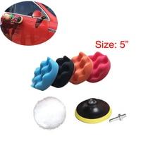 JEAZEA New 7pcs 5 Inch Car Polishing Sponge Pads Waxing Sealing Glaze Buffing Wool Kit Car