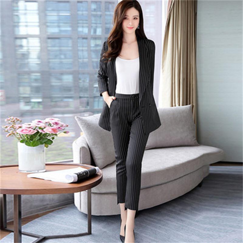 Fashion Stripe Suit Female Spring New Women's Fashion Slim Stripe Small Suit Suit Temperament Autumn Fashion Two-piece