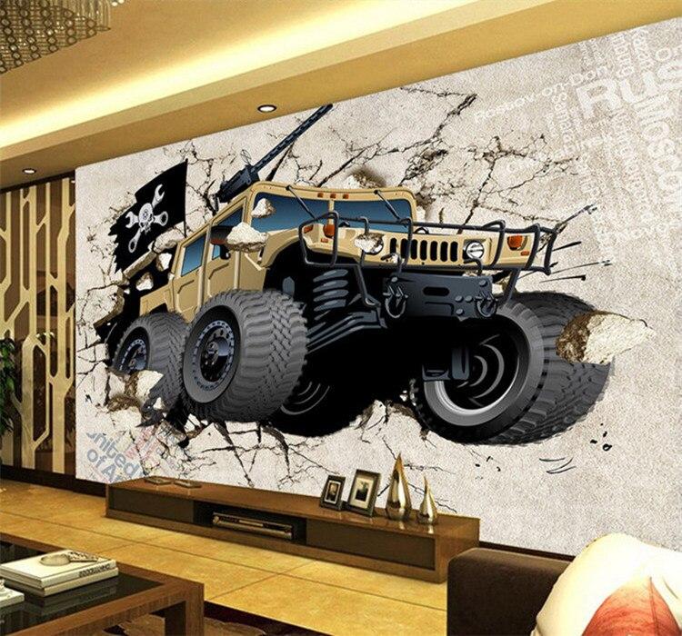 Custom mural wallpaper 3D cartoon broken wall out car photo wallpaper children bedroom living room TV background home decor