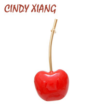 CINDY XIANG Red Color Enamel Cherry Collar Pin Unisex Women And Men Brooch Suit T-shirt Brooches Bag Badges Fashion Jewelry