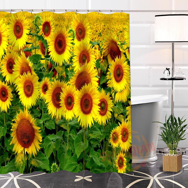 Eco-friendly Custom Unique Popular sunflowers Fabric Modern Shower Curtain bathroom Waterproof for yourself H0220-147
