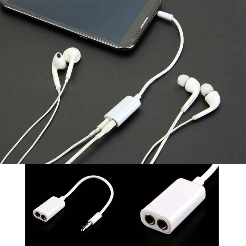 Car-styling 3.5mm Male AUX Jack Splits Dual 3.5mm Female Headphone Audio Adapter Car Cable