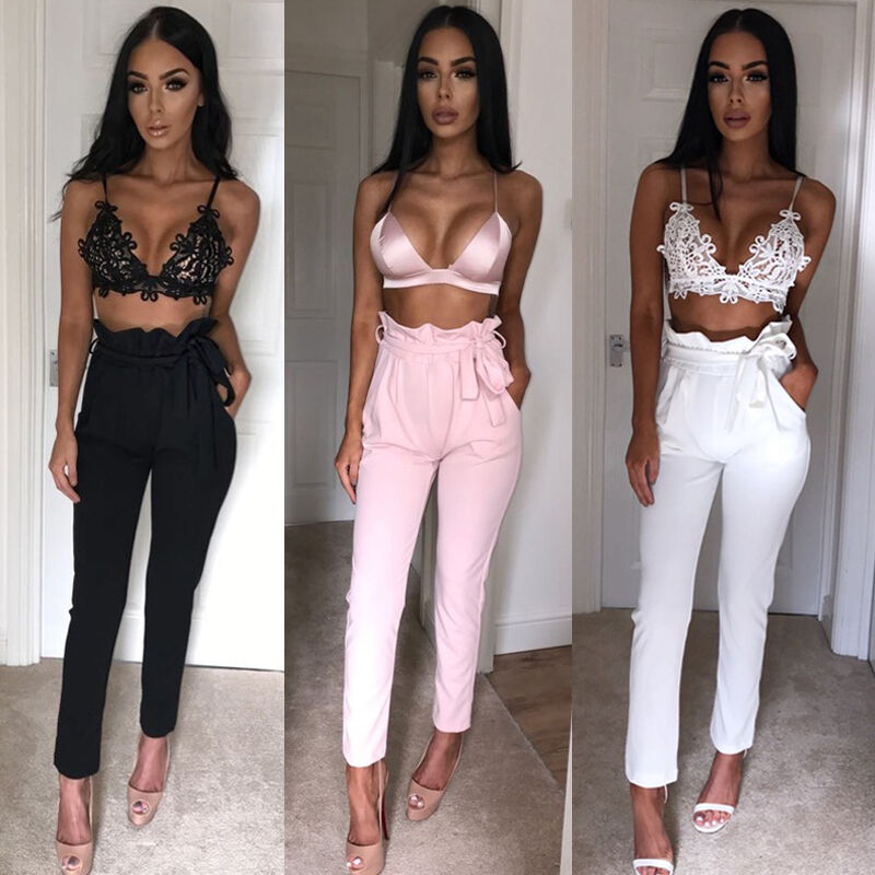 Hot Sale Fashion Women's Solid High Waist Slim Solid Bandage Stretchy Pants Office Lady Summer Casual Straight Thin Pants S-XL 2