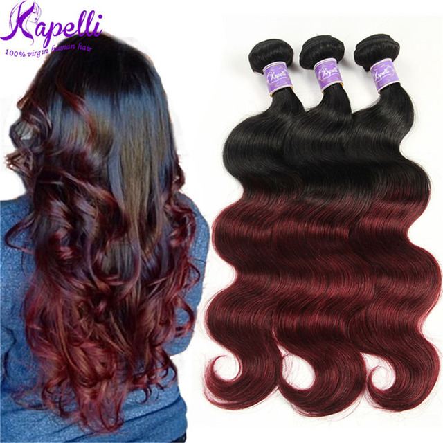 Ombre Brazilian Hair Bundles Body Wave 3 Ombre Human Hair Bundles Remy Hair Weave Bundles Colored Two Tone Ombre T1B Burgundy