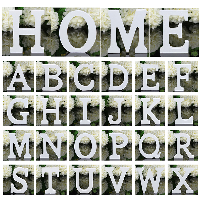 Large White Wooden English Letters 3D Personalized Name Design Free Standing Heart Wedding Birthday Party 11cm Home Decor