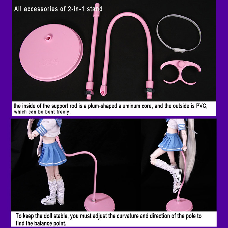Image 4 - Bjd Doll Stand Suporte Flexible Support for Bjd 1/3 Doll White/Black/Pink Metal Display Holder Bracket for Dolls AccessoriesDolls Accessories   -