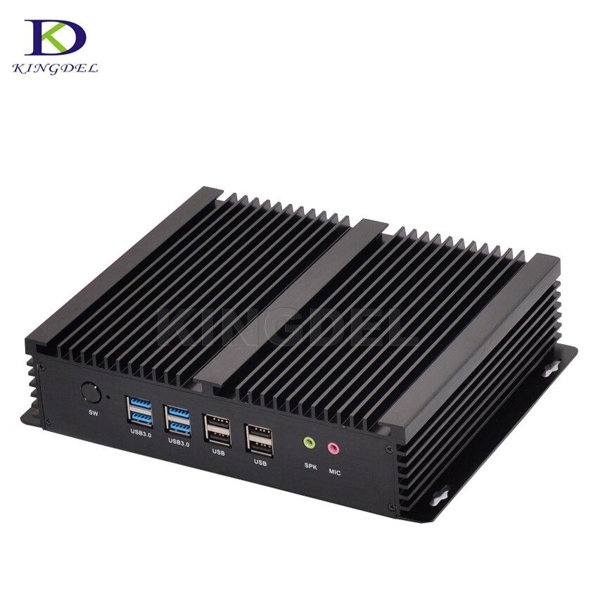 Wholesale Micro Desktop Computer Fanless Mini Industrial PC I5 4200U Mini PC 6*COM Nettop 8*USB HDMI+VGA Wifi Windows 10  Linux