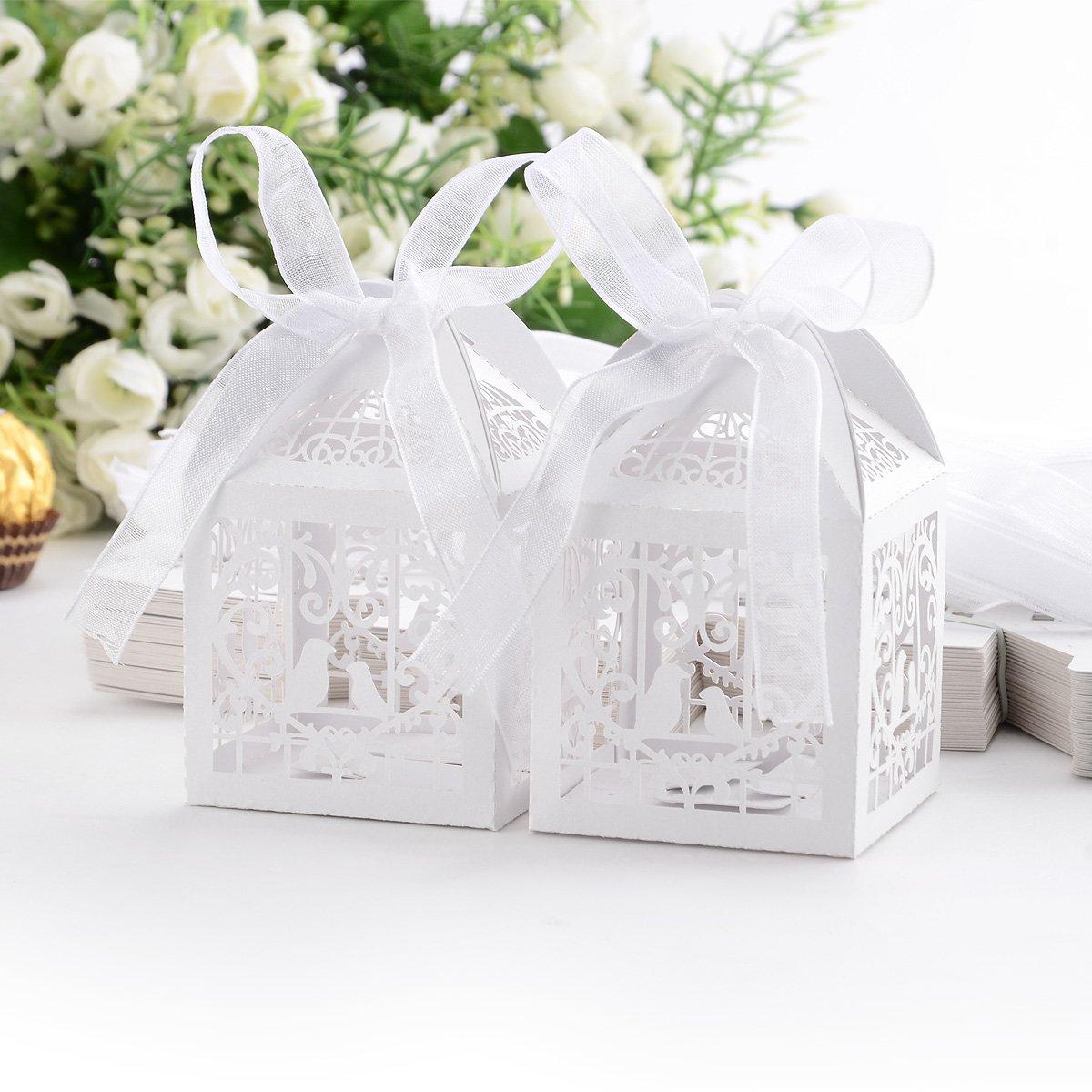 ᗕBeautiful 50pcs/lot Love Heart Birds Pattern Candy Boxes Wedding ...