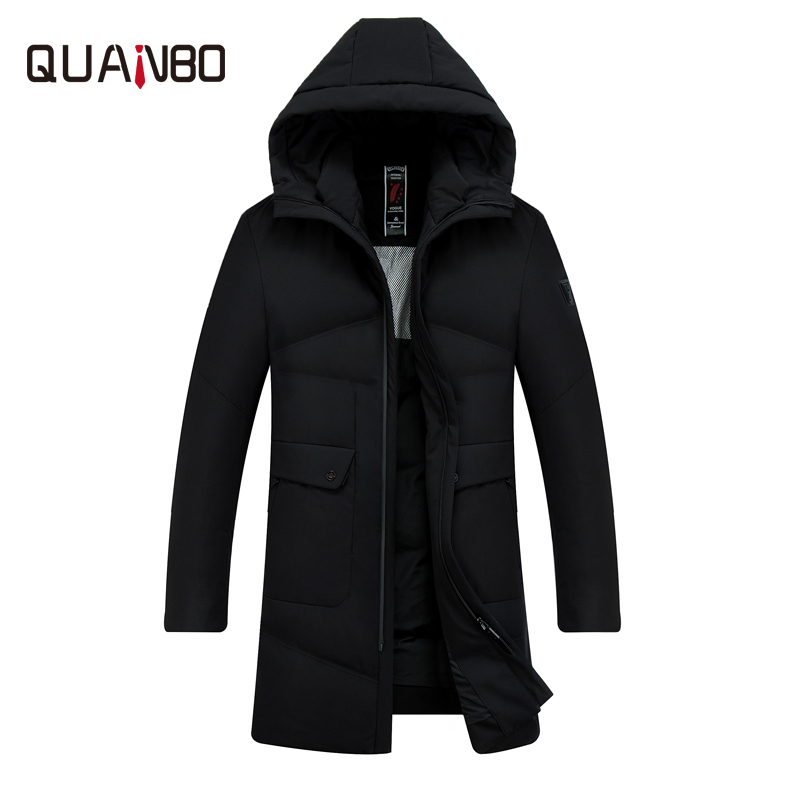 QUANBO Men's   Down   Jacket 2018 High Quality Warm Thick Winter   Down   Jacket Hooded Business Casual Long 90% White Duck   Down     Coat