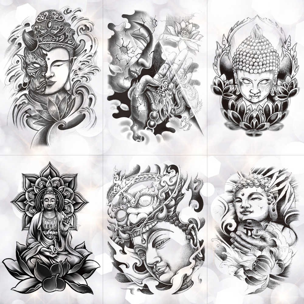 Kindness Wisdom Buddha Sakyamuni Waterproof Temporary Tattoo Sticker Holy Faith Tower Flash Arm Tattoos Body Art Fake Tatoo