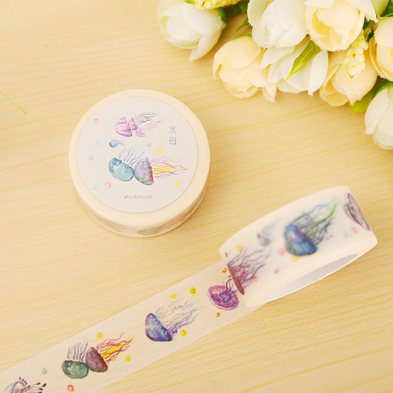 2cm*10m Cartoon Jellyfish washi tape DIY decorative scrapbooking masking tape adhesive tape label sticker stationery jellyfish jellyfish spilt milk deluxe edition 2 cd