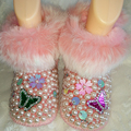 Mariposa de diamantes de imitación de pelo de conejo botas Para la nieve Niña de La Perla de bling Cristal Caliente Del Invierno Del Niño infantil Primeros Caminante Zapatos de las flores