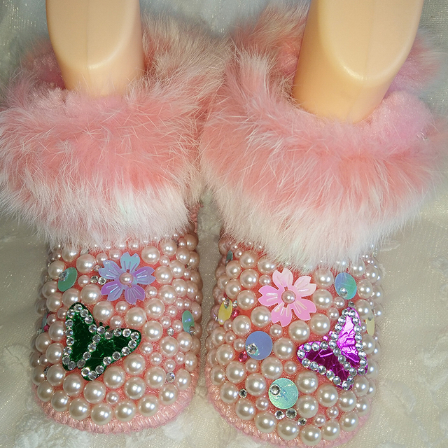 Rabbit hair butterfly rhinestone Baby girl snow boots Pearl bling Crystal Warm Winter Toddler child First Walkers flowers Shoes