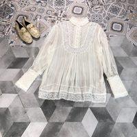 2019 New Lace Plaid Silk Shirt Women Free Shipping