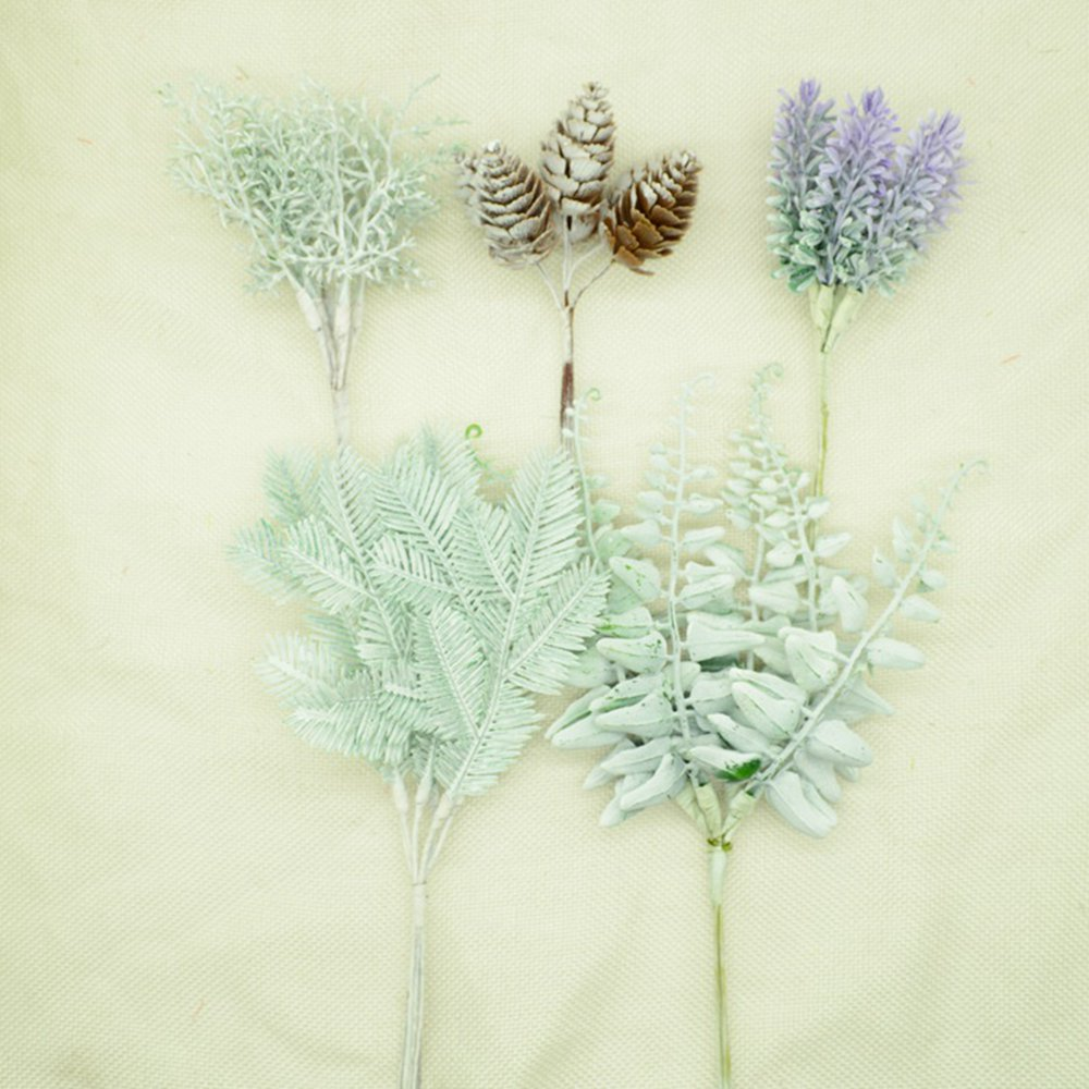 6pcs/bundles Fake Plastic Flowers Lavender Artificial Plants Diy Gift Home Wedding Decoration Accessories Christmas Pineal Fruit