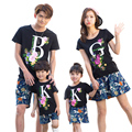 Family Clothing 2017 Summer Shorts Letter T shirt Family Matching Outfits Mother and Daughter Clothes Baby Boy Girl T shirt