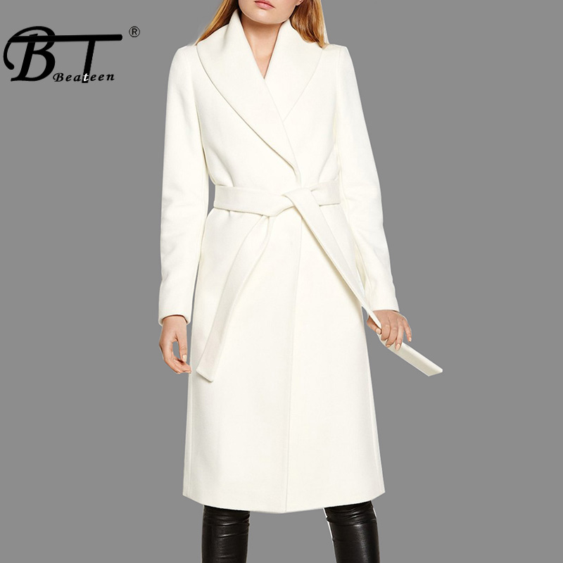 Beateen Turn Down Collar Full Sleeve Women   Trench   Fashion Long Wide Waisted Sashes Belt Women Coat 2018 New