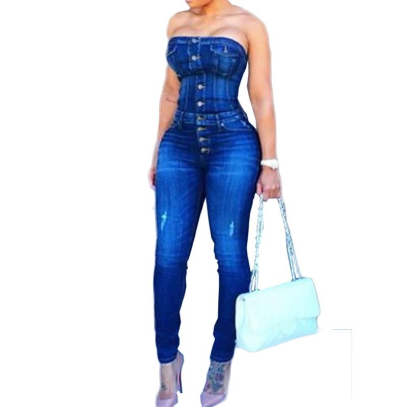 Trendy Strapless Single-breasted Design Blue Cotton Blends Denim One-piece Skinny Bodycon Jeans Jumpsuit For Women