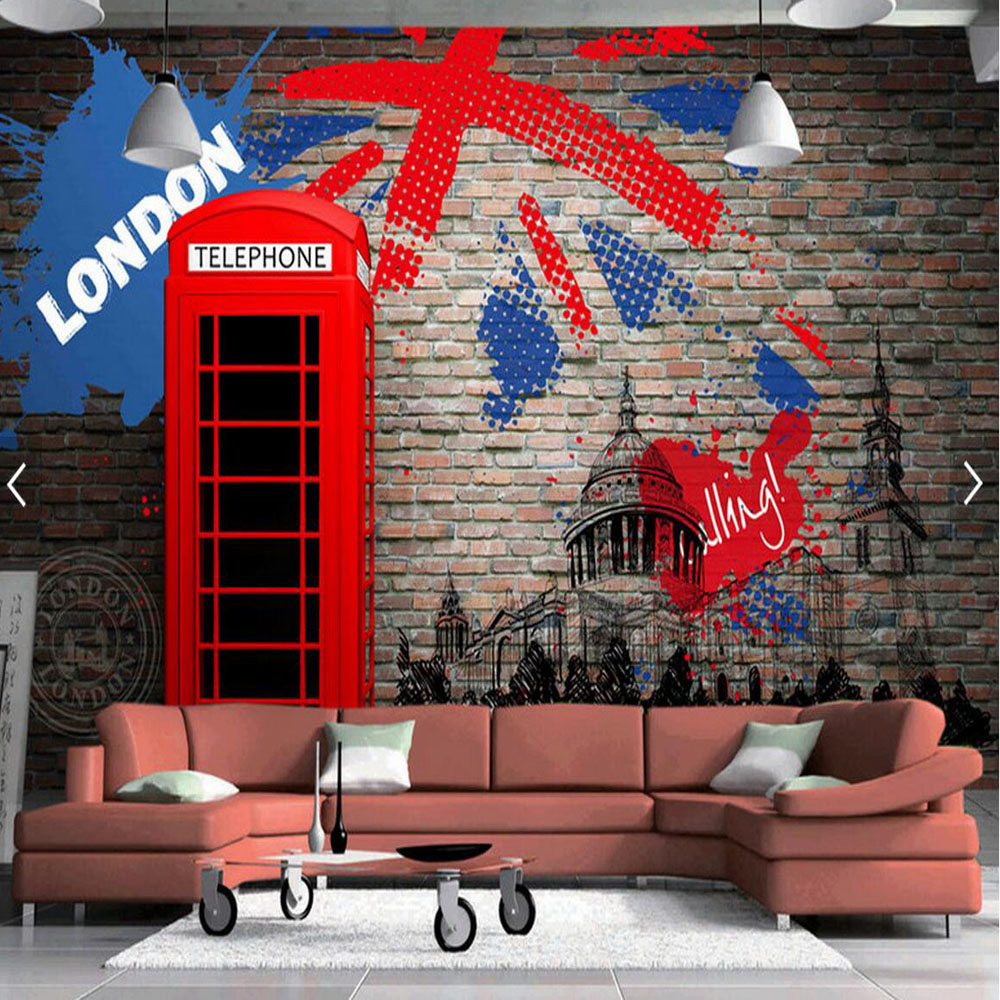 popular london wall mural buy cheap london wall mural lots from european retro london red telephone booth brick backsplash wall murals 3d bedroom for living room photo