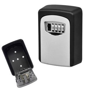 Image 2 - Durável caixa de armazenamento chave segurança bloqueio suporte montagem na parede 4 dígitos combinação organizador seguro para o escritório em casa cassaforte seguridad