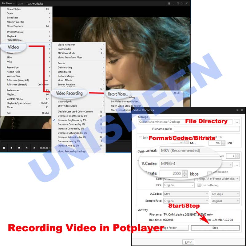 recording video in potplayer