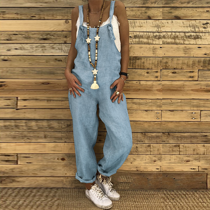 Fashion Solid Linen Women Jumpsuit Plus Size Sexy Sleeveless Loose Harem Overalls Casual Lace Up Strappy Adjust Dungarees Romper