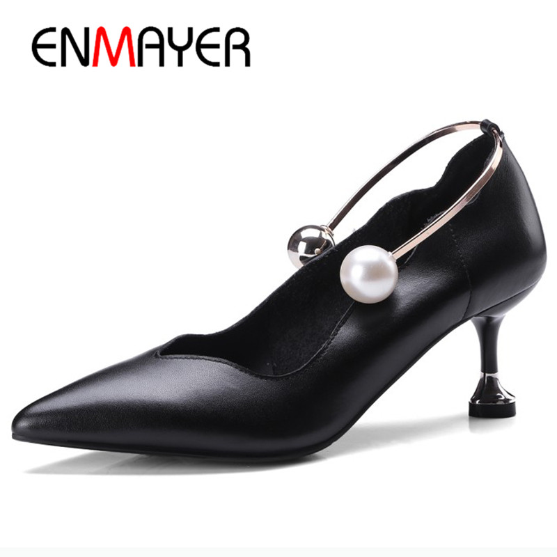 ENMAYER Classic Black Office Ladies Shoe High Heels Pumps Shoes Woman Plus Size 34-41 Genuine Leather Shoes Slip-on Pumps Womens the new puma womens shoes classic high classic star high tongue series white leather laser badminton shoes